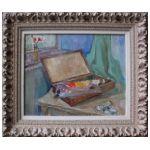 Józef Kowner (1895-1967) Martwa natura z paletą i pudełkiem z farbami